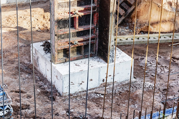 Monolithic foundation formwork. forms vertical formwork structures for the basement of a residential building. monolithic concrete foundation. support foundation. home construction.