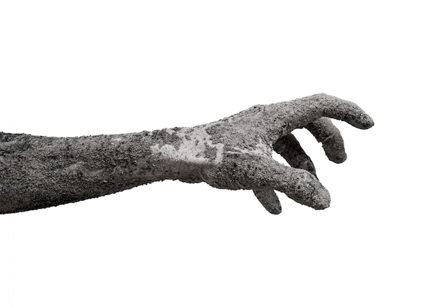 Monster zombie hand cinder isolated on white.
