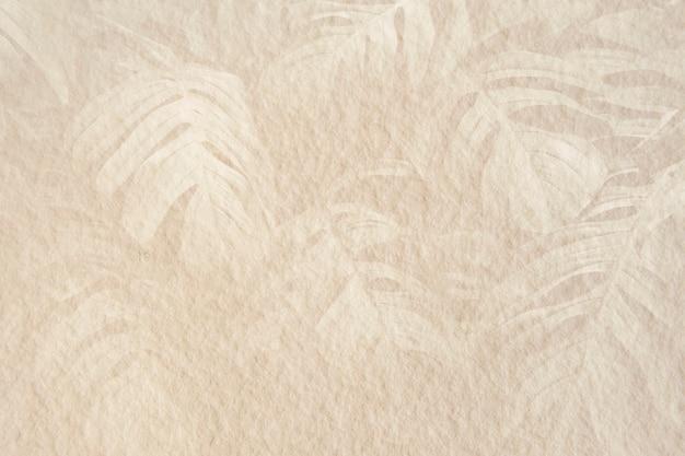 Monstera leaf pattern on a beige cement background illustration