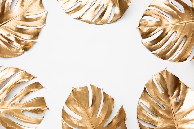 Monstera leaves painted with gold paint on white background