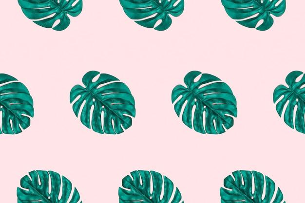 Monstera leaves pattern. pop art tropical pattern.