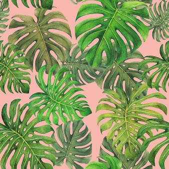 Monstera leaves seamless pattern on pink background