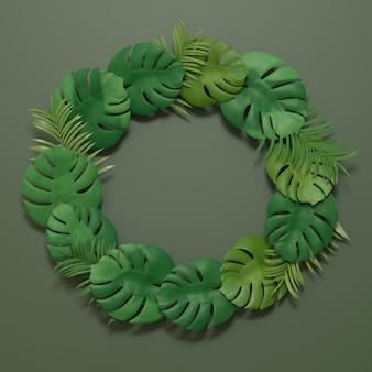 Monstera 식물 잎은 짙은 녹색 배경에 정렬 원 모양을 배치합니다. 3d 그림 렌더링 이미지입니다.
