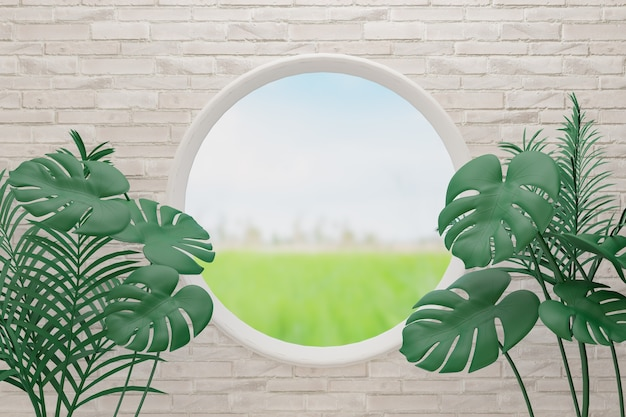 Monstera plant leaves on white brick background. with circle window 3d illustration rendering image.