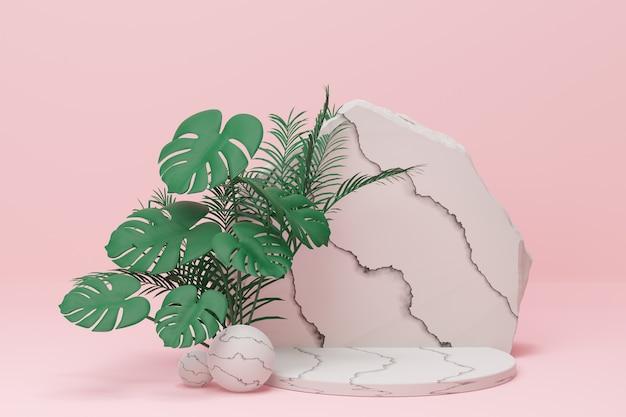 モンステラ植物の葉は、淡いピンクの背景に大理石のシリンダー表彰台と岩壁があります。 3dイラストレンダリング画像。