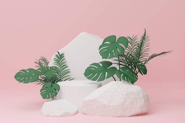 モンステラ植物の葉は、明るいピンクの背景に白い円柱の表彰台と石の壁があります。 3dイラストレンダリング画像。