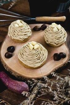 Mont blanc dessert or chestnut cream cake.