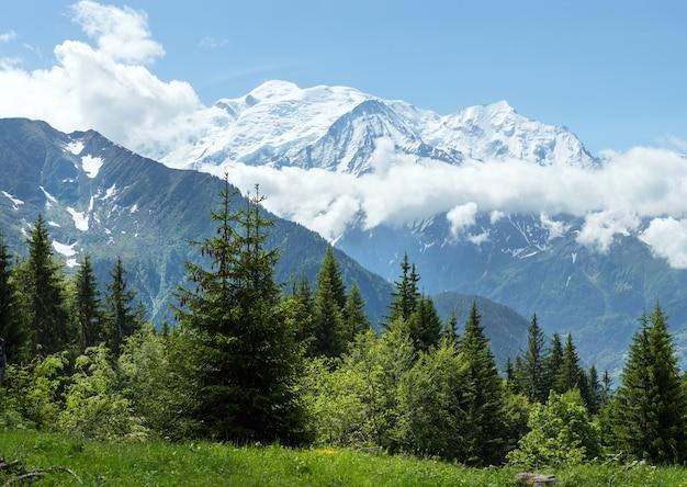 Горный массив монблан (долина шамони, франция, вид с окраины плен-жу).