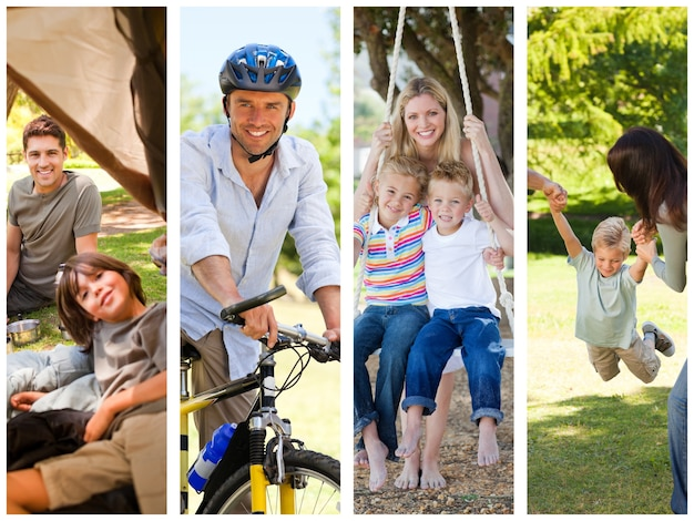 Montage of families relaxing