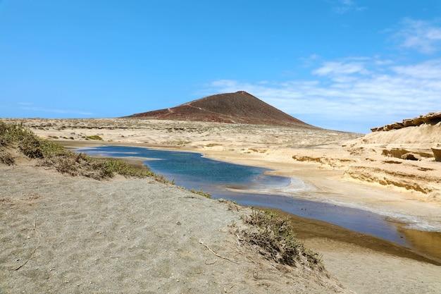 Montana roja volcano with sand desert of el medano, tenerife, spain