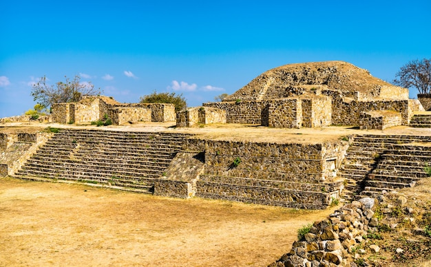 Monte alban, a large pre-columbian archaeological site near oaxaca. unesco world heritage in mexico