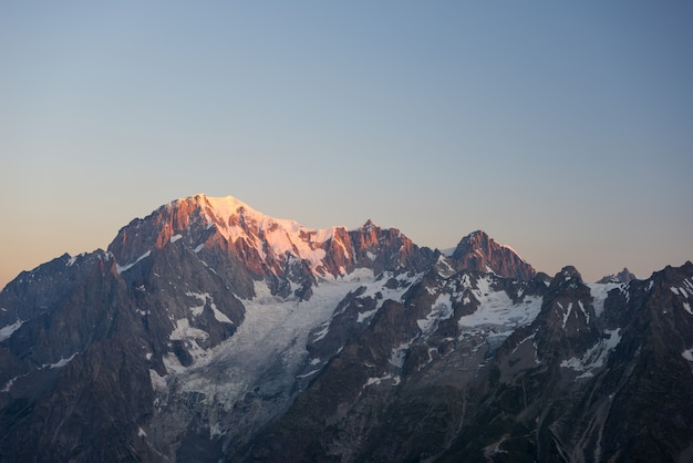 Monte bianco or mont blanc at sunrise, italian side