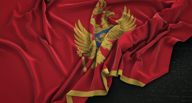 Montenegro flag wrinkled on dark background 3d render