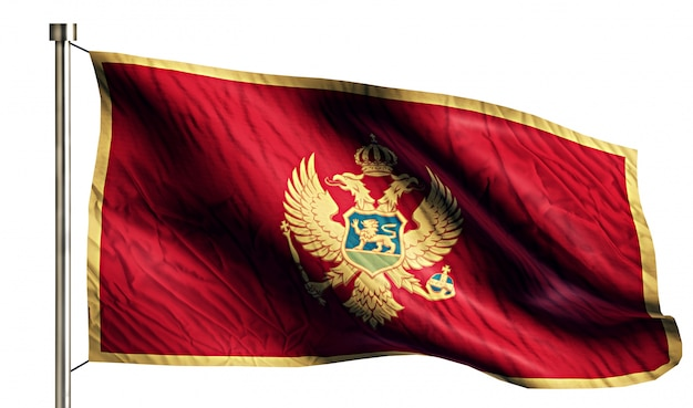 Montenegro national flag isolated 3d white background