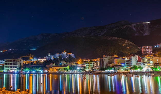 Montenegro przno the fishermen moored their boats near the shore for an overnight stay