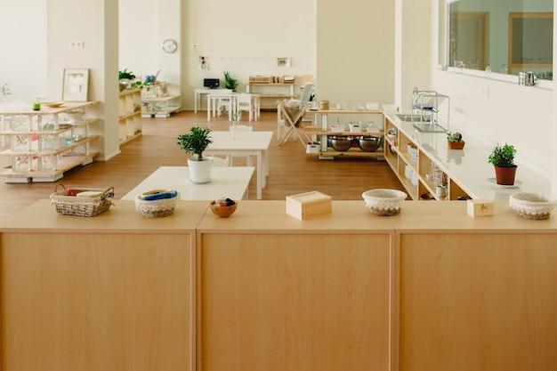 Montessori materials arranged in the classroom