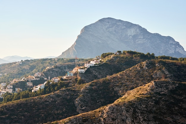 Montgo mountain in javea at sunset