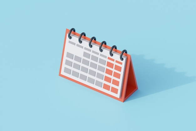 Monthly calendar single isolated object. 3d rendering