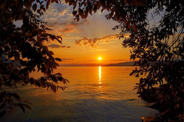 Montreux sunset skyline in leman geneva swiss
