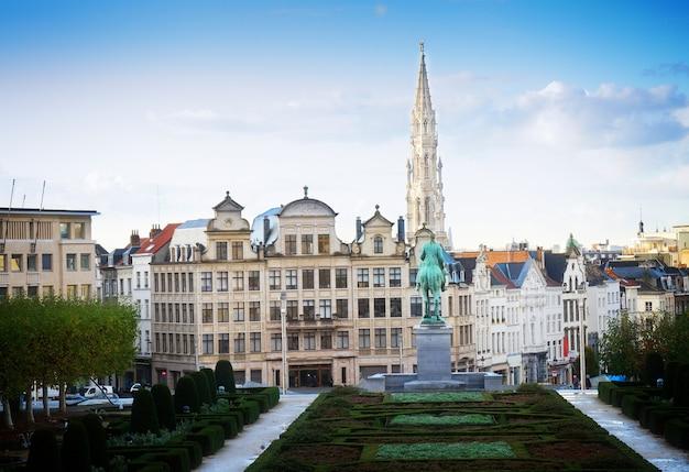 Monts des arts and brussels cityscape, belgium, toned