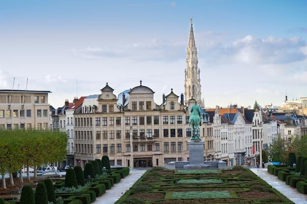 Monts des arts and brussels cityscape, belgium