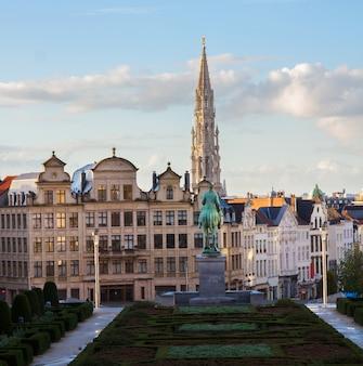 Monts des arts garden and brussels cityscape, belgium