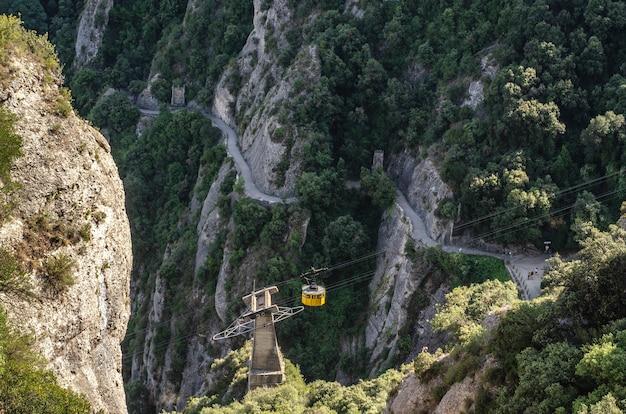 バルセロナのモンセラート山の岩。ロープトレイン