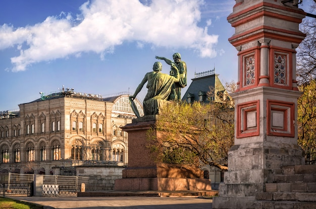 Monument to minin and pozharsky near st. basil's cathedral on red square in moscow
