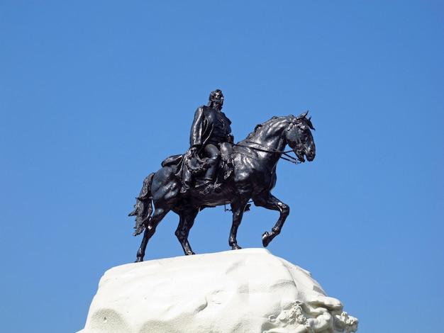 The monument on plaza de armas, plaza mayor, lima city, peru, south america