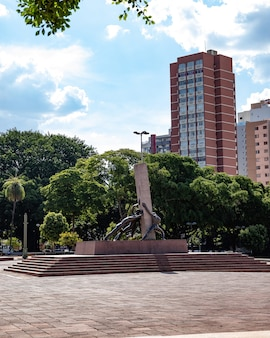 Monument to the three races at plaza dr. pedro ludovico teixeira