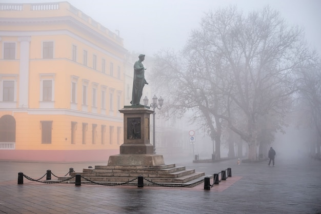 霧の秋の日に、ウクライナ、オデッサのデュークリシュリューの記念碑 Premium写真