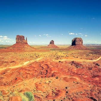 Monument valley under blue sky, usa.