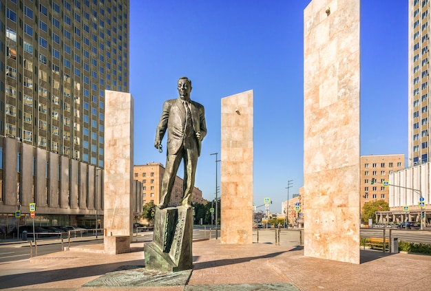Monument to yevgeny primakov in moscow on a sunny summer morning