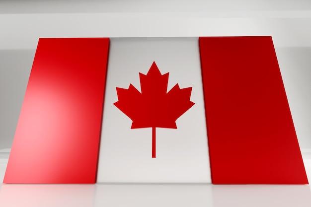 カナダの日の記念碑的なカナダの旗。ガラスとコンクリートで作られた 3 d レンダリング フラグ。 3 d レンダリング。