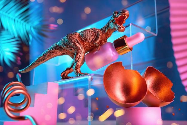 Монументальная композиция с косметическим маслом из яйца динозавра для лица