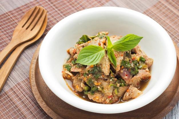 Moo nam tok, thai food