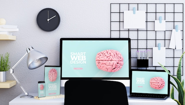 Moodboard stuido with responsive devices 3d rendering