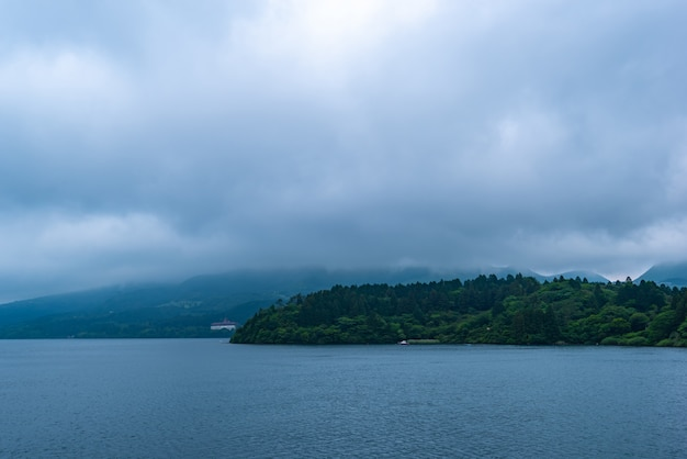 Moody sky and cloud rain is coming  , lake ashi