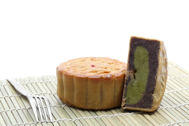 Moon cake with fork