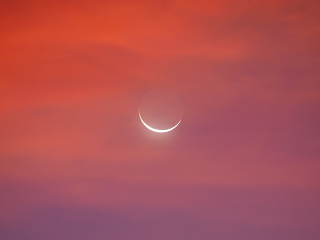 Moon crescent in the early morning.