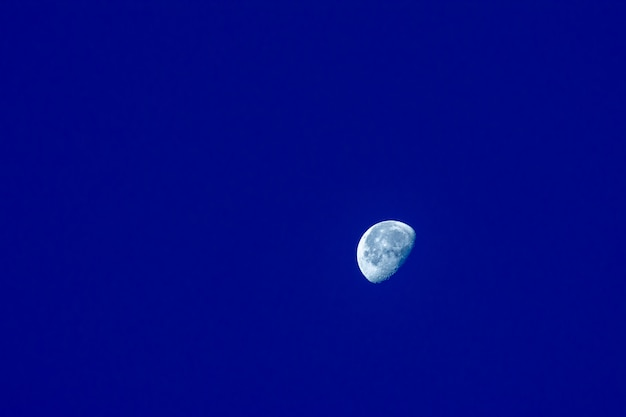 The moon is visible in the morning on blue