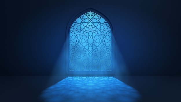 Лунный свет проникает через окно в интерьер исламской мечети