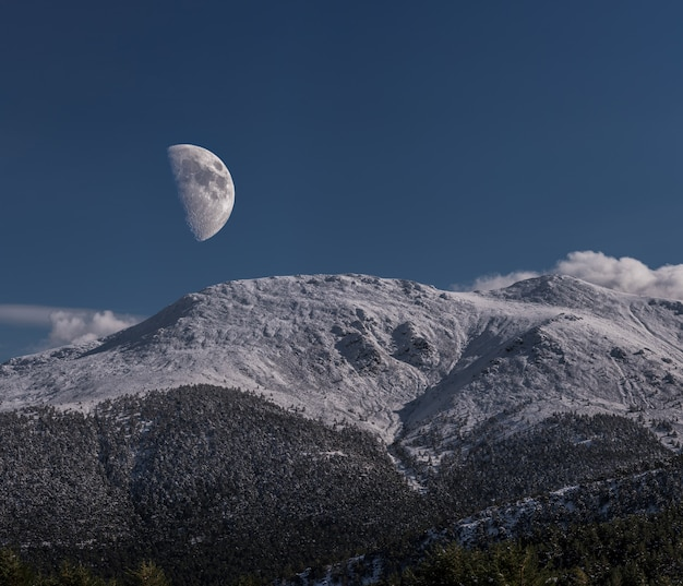 Moon on the mountains