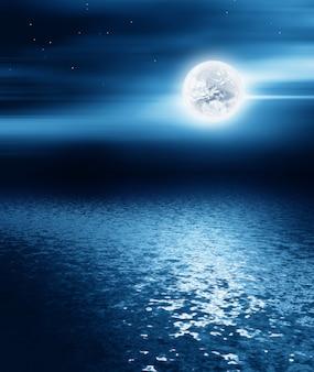 바다 위에 달-밤 풍경