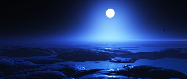 夜の月とファンタジーエイリアン風景のレンダリング3d