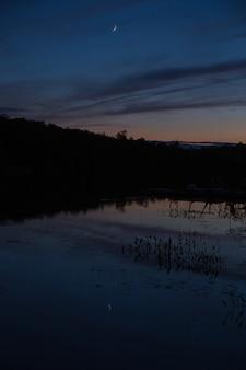 月が湖に映る