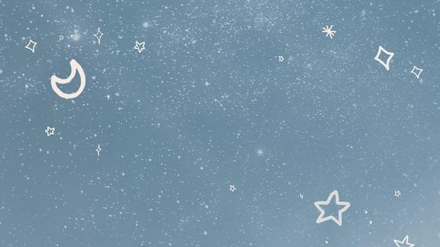 Motivo luna e stelle su sfondo stellato