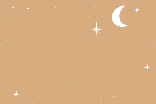 Moon and stars silver starry sky border on brown background