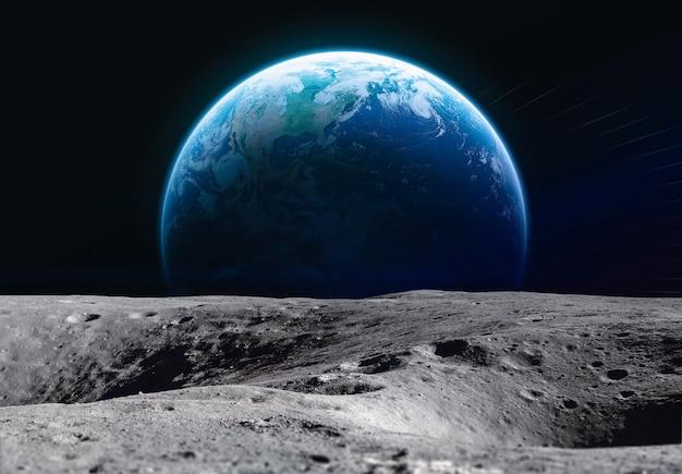 Поверхность луны и планета земля космическая программа артемида элементы этого изображения предоставлены наса