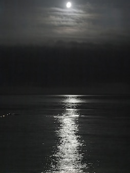 2014년 러시아 올림픽의 수도 소치의 흑해에 달빛.